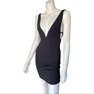 OH MY LOVE Black Plunging Super Sexy Mini Dress